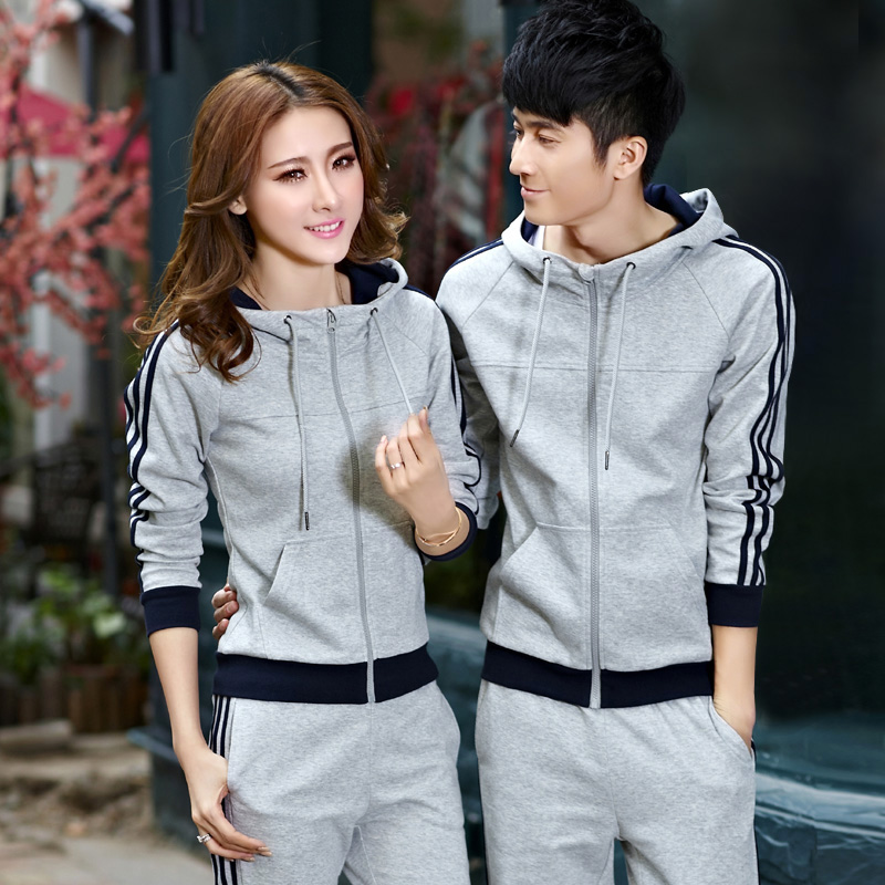 Sports jacket + pants suit spring / autumn Couples track suit cardigan casual sportswear for men and women suite 2 piece set(China (Mainland))