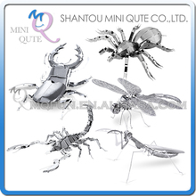 Mini Qute Piece Fun 3D animal insect Mantis Scorpion Stag Beetle Tarantula Dragonfly Metal Puzzle adult models educational toy(China (Mainland))