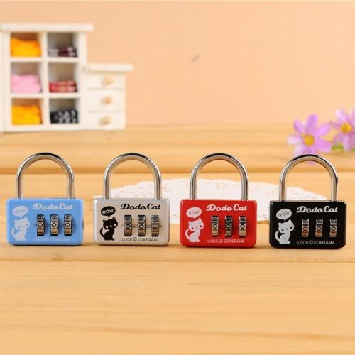 Lot 10 pcs Mini Luggage Suitcase Lock Padlock 3 Digit Number Combination Security Cable(China (Mainland))