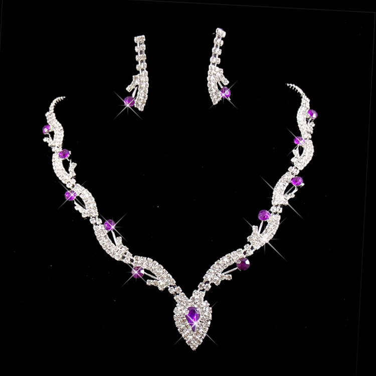 2016 Fashion Rhinestone Bridal Jewelry Wedding Bride Party Purple White Necklaces Earrings Sets Jewellery For Women