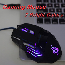 Optical USB Wired Gaming Game Mouse Adjustable 2400DPI 7 Buttons Mouse with LED for PC Laptop Computador Computer(China (Mainland))