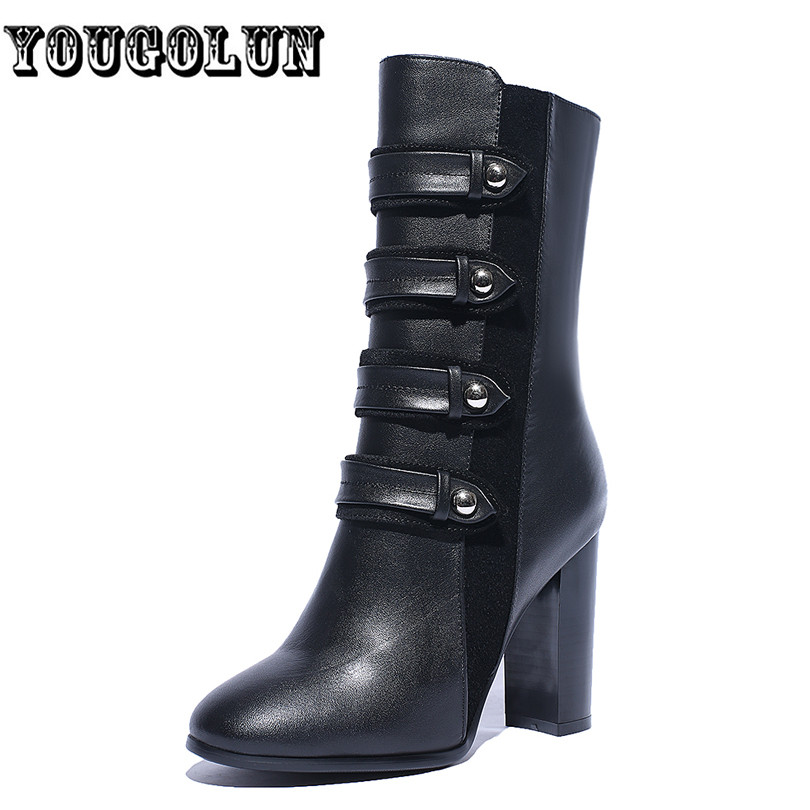 cow Genuine leather pointed toe black buckle women Martin mid calf boots,2015 winter warm fashion zipper high heel woman shoes<br><br>Aliexpress