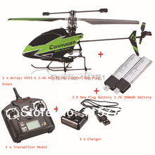 New Plug WLtoys V911-1 2.4G 4CH Green RC Helicopter BNF+Transmitter Mode 2+Charger+2 Pieces 200mah Batteries(China (Mainland))