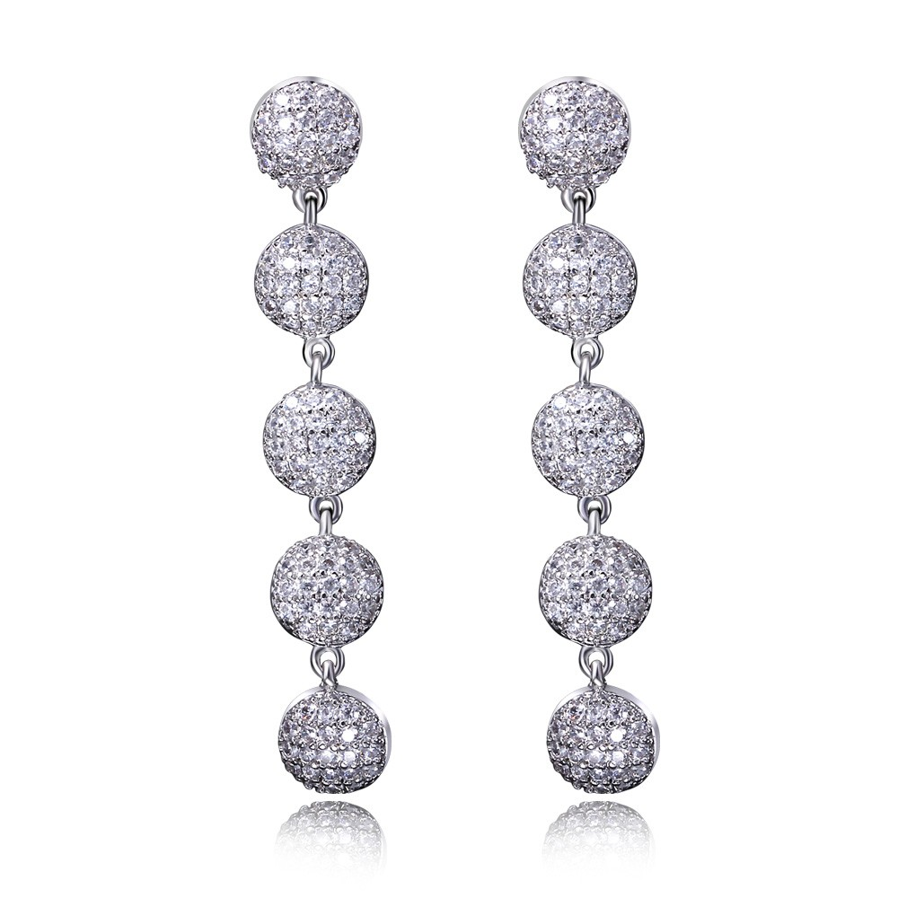 White tassel earrings Fashion accessories ultra long of luxury sparkling white full crystal tassel earrings wedding earring(China (Mainland))