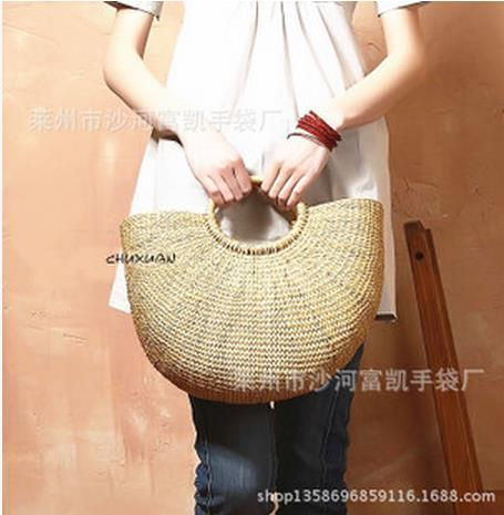Korean factoryNew foreign trade company straw bag essential handbag factory production woven bag free shipping(China (Mainland))
