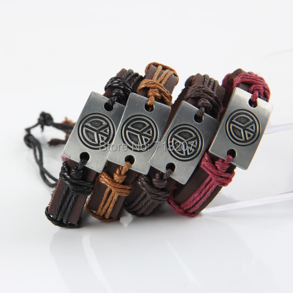Free shipping!!!Cowhide Bracelet,New 2014 Jewelry, with Wax Cord &amp; Zinc Alloy, Peace Logo, plumbum black color plated<br><br>Aliexpress