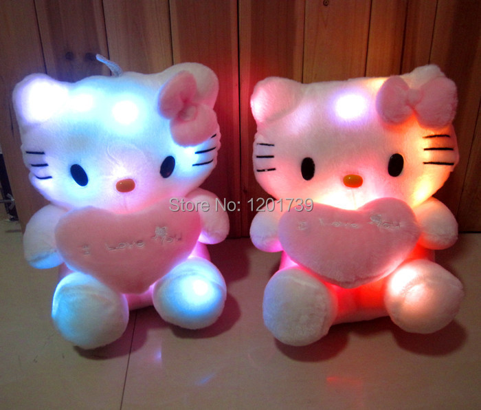 Free shipping 1 piece 20cm The United States orders Coloful LED Night Flash Light hello kitty Plush Stuffed Toys best gift(China (Mainland))