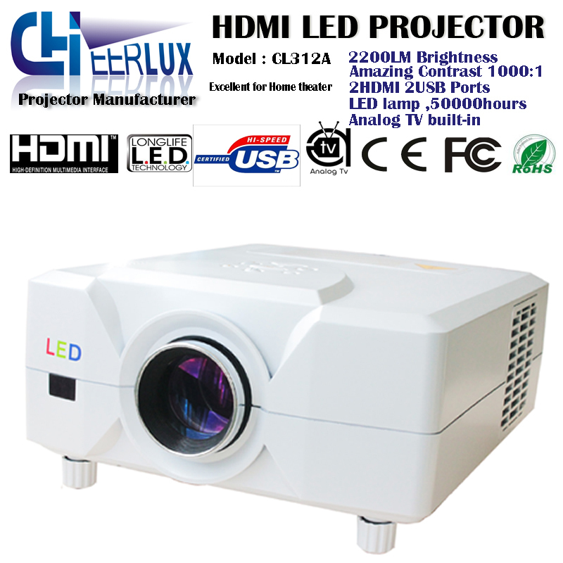 cheap led lcd hd projectors with 2 hdmi ports+2 usb inputs+image zoom 4 home cinema tv dvd xbox wii pc/laptop,factory price(China (Mainland))