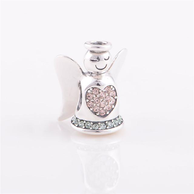 Мода 925 серебряные ювелирные изделия бусины европейский шарм тип ангел кристалл DIY ювелирных изделий подходит Chamilia стиль браслет