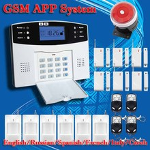 DHL Free Shipping!English Russian Spanish French Voice Wireless GSM Alarm system Home security Alarm systems LCD Keyboard Sensor(China (Mainland))