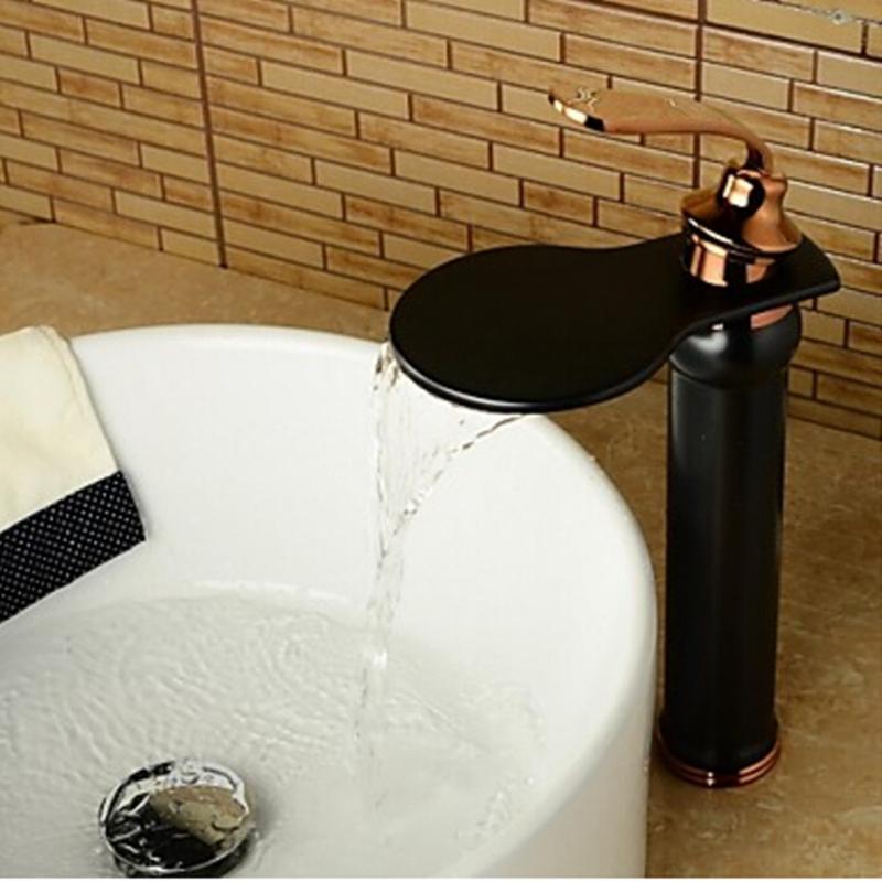 Фотография Luxury Oil Rubbed Bronze Round Body Bathroom Basin Faucet Rose Golden Mixer Tap