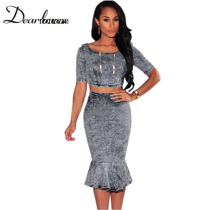 Online Get Cheap Denim Skirt with Crop Top -Aliexpress.com ...
