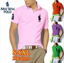Big cheval 2015 nouvelle marque man Polo solides Casual coton à manches courtes Polo hommes chemise camisa Polo homme , Plus la taille 6XL(China (Mainland))