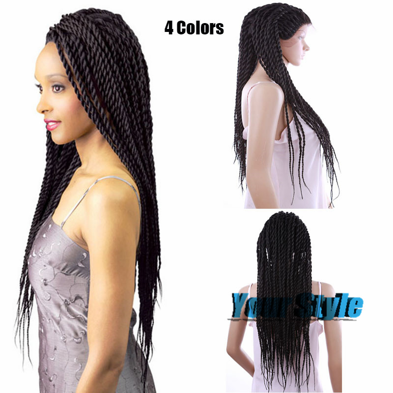 4 Colors Curly Braided Synthetic Lace Front Wigs Micro Braids Wig for African and American Black Woman Box Braid Wigs(China (Mainland))