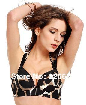 Sexy Leopard Halter Strap Bra Push Up Bra Massager Women Sexy Revealing Lingerie for Mature Women