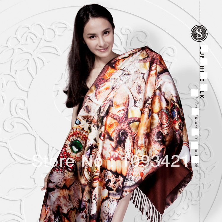 Top quality 2014 fashion women real silk scarf(China (Mainland))