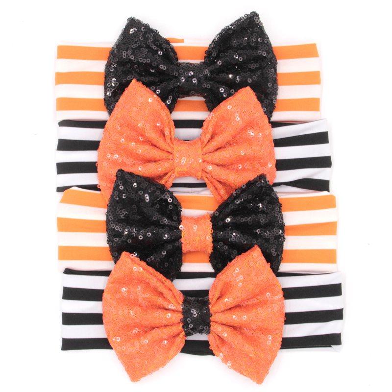 "12pcs/lot Chic European Halloween Festival Headband Black/Orange Baby Girl DIY 5"" Sequins Bow Hair Accessories New Arrival(China (Mainland))"
