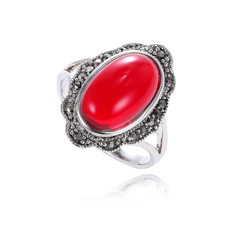 Buy Retro Ruby Red Stone Ring Vintage Jewelry Antique Silver Plated Fashion