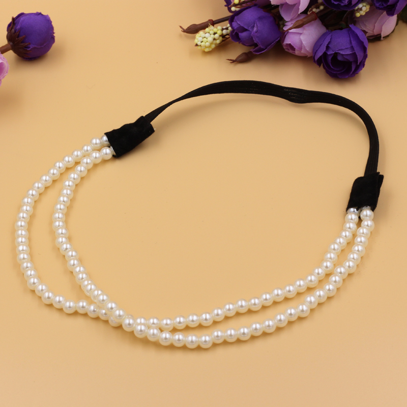 1pcs Fashion Women Charm Chain Artificial Pearls Headband Jewelry Elastic 2 Layers Hair Hoop(China (Mainland))