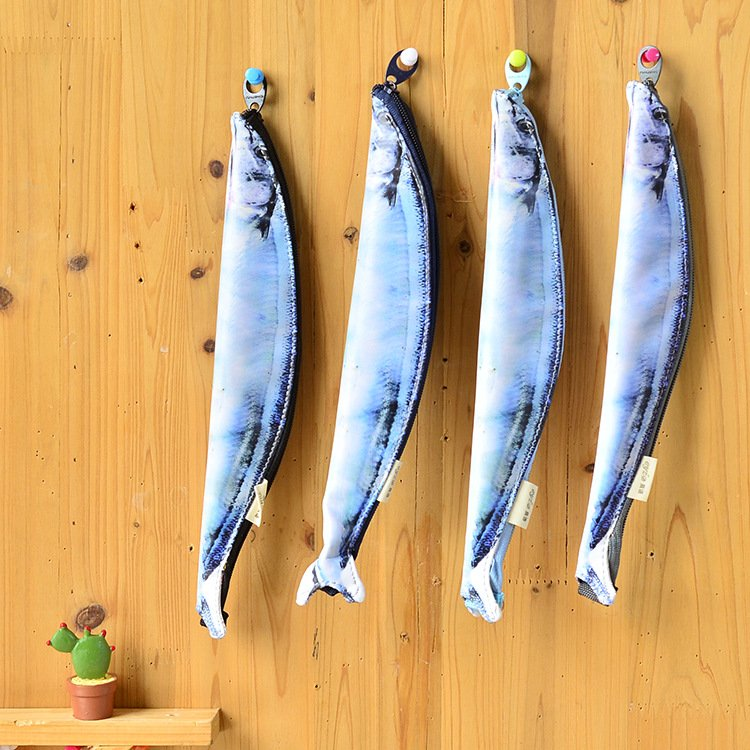 Lifelike Salted Fish Design Pencil Bag Creative Vivid PVC Water Proof Pencil Case Funny Shape Zipper Artificial Leather Pen Bag