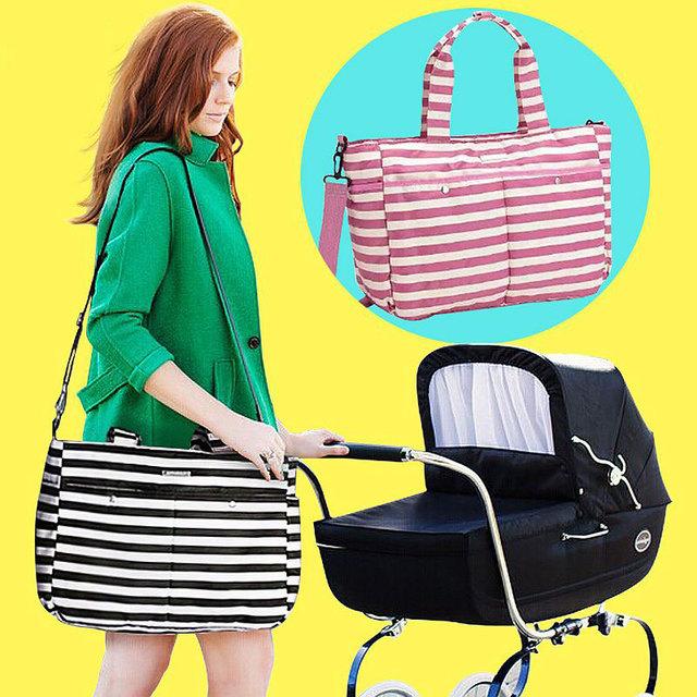 Полосатая, водонепроницаемая сумка для мам