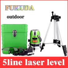 Fukuda 5 líneas 1 punto verde nivel láser 360 rotatorio EK-468GJ autonivelante line cruz lazer niveles con la batería + 1.5 m trípode LL10