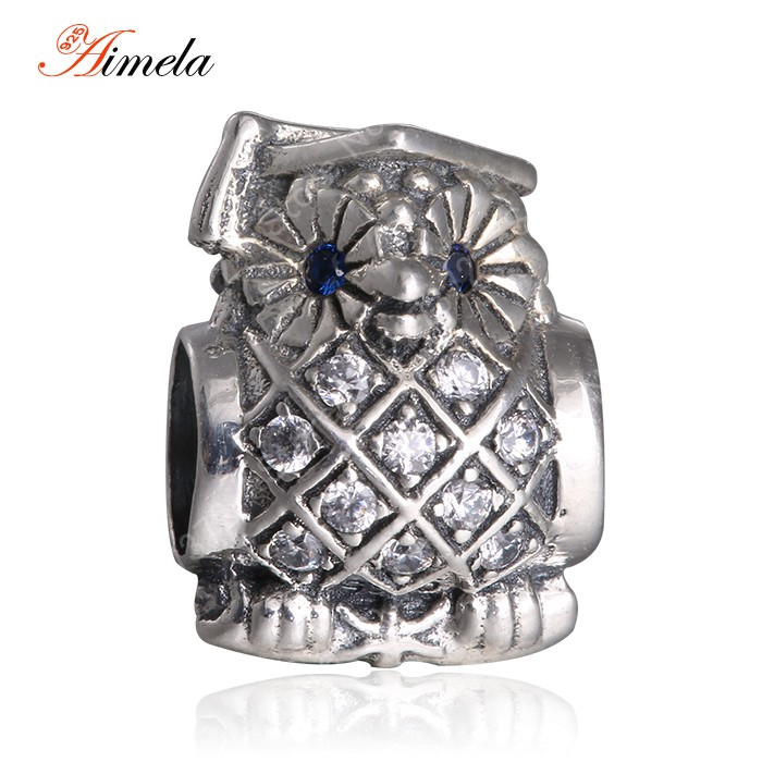 2015 Spring Collection Owl Charms With Swiss Blue CZ Authentic 925 Sterling Silver Jewelry For Famous Brand DIY Bracelets SH0613<br><br>Aliexpress