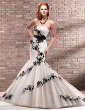 Don's Bridal Best 2016 New Black Lace Applique Tulle and Organza Long Bridal Gown White/ivory Trumpet Mermaid Wedding Dresses(China (Mainland))
