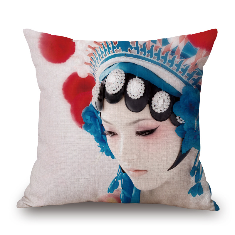 Beijing opera Series Lonely Girl Cotton Throw Pillow Home Decoration Cushion(China (Mainland))