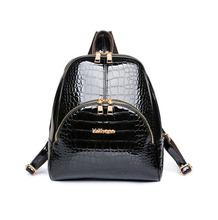 New Fashion Upscale patent leather crocodile pattern female Backpacks Women's New Bags Feminina Leather Shoulders Bag Back Packs(China (Mainland))