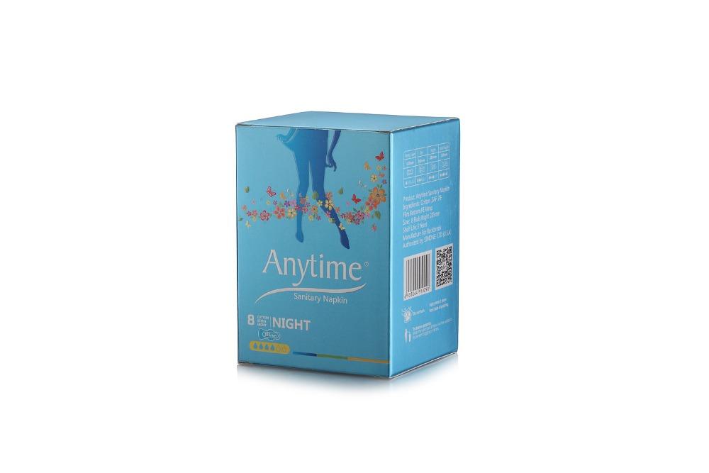 100 Boxes Wholesale New Night Use Women Feminine Hygiene Anion Cotton Sanitary Napkin Medicated Menstrual Lady Sanitary Pad(China (Mainland))