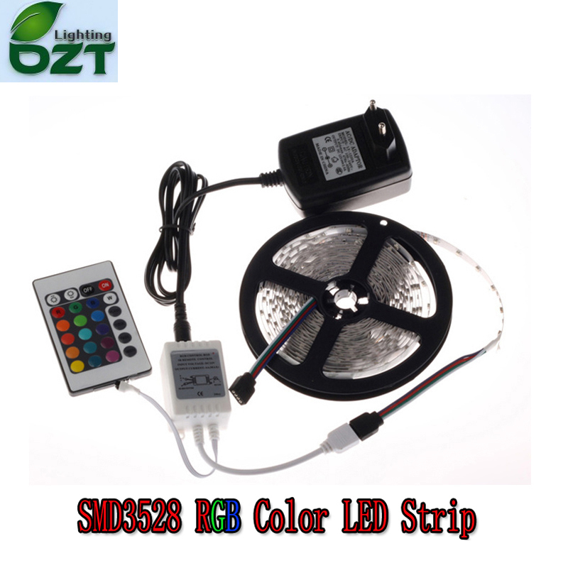 RGB LED Strip 5M 300Led 3528 SMD + 24Key IR Remote Controller+12V 2A Power Adapter Flexible Light Led Tape Home Decoration Lamps<br><br>Aliexpress