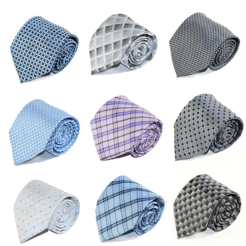 Man Silk Polyester Tie Fashion Striped Jacquard Woven Classic Business NeckTies for men Brand Casual tie black grey Neck ties(China (Mainland))