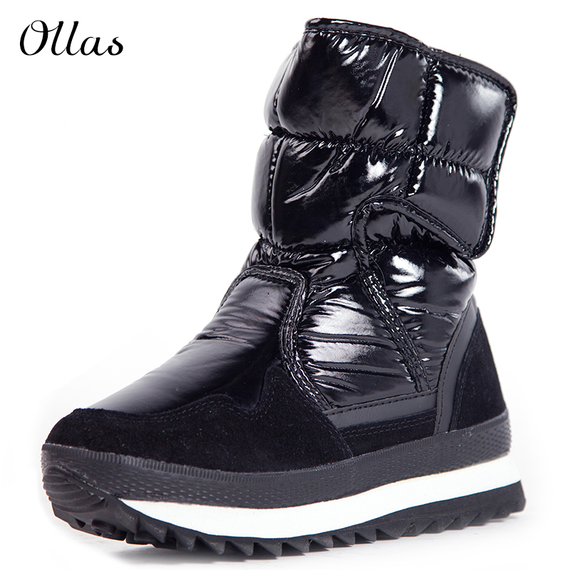 2015 PU leather snow boots women men waterproof platform winter boots size 40-45(China (Mainland))