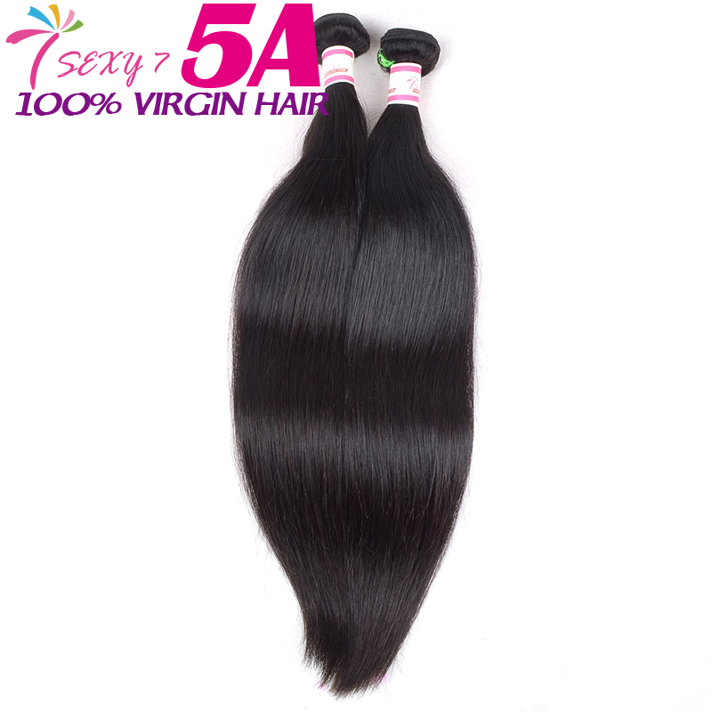 Sexy 7 virgin straight human hair weave extension brazilian straight bundles 2 pcs natural black brazilian virgin hair straight(China (Mainland))