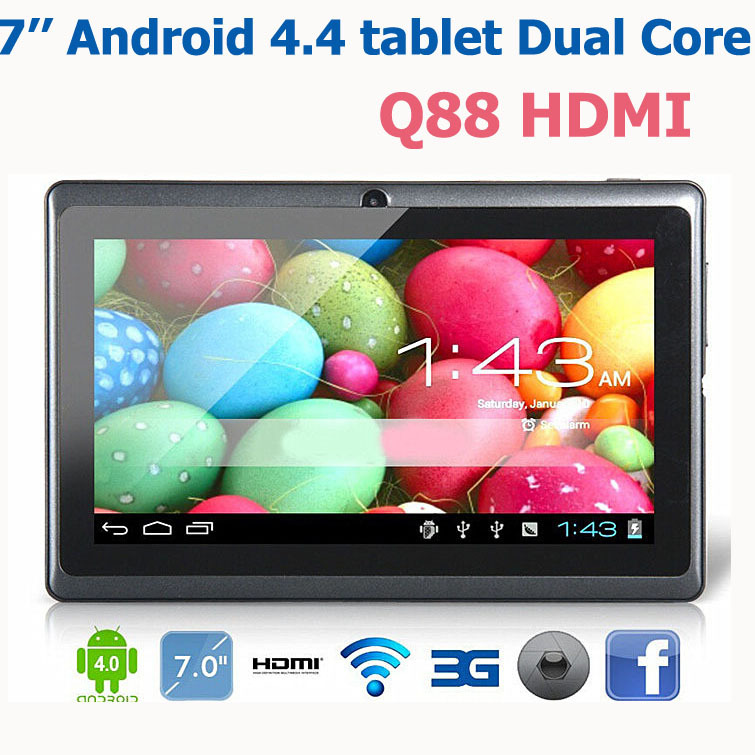 7 inch dual core Android 4.4 tablet pc Dual camera with HDMI wifi external 3G tablets Q88 pro HDMI(China (Mainland))