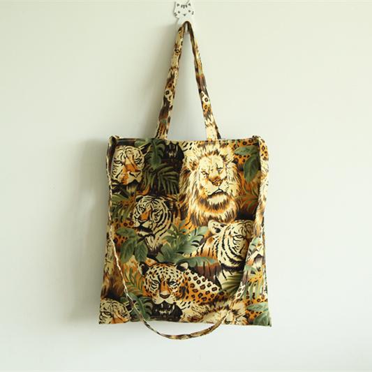 Fashion normic tiger lion jungle animal canvas bag women's handbag shoulder bag messenger bag preppy shopping handbags cotton