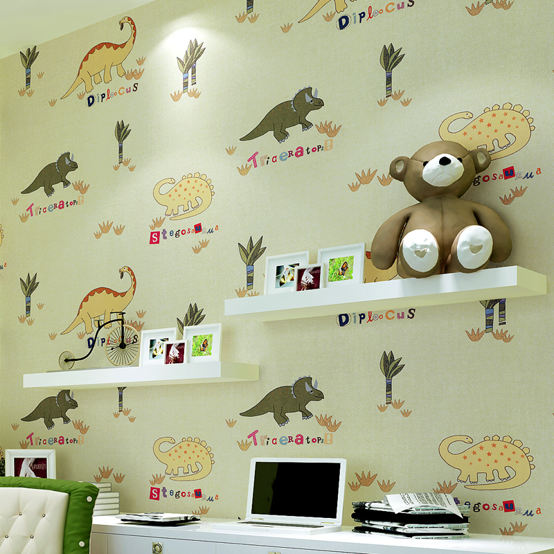 wall paper. papel de parede 3d wallpaper. Pune Cartoon Dinosaurs environmental non-woven wallpaper boys and girls room bedroom w