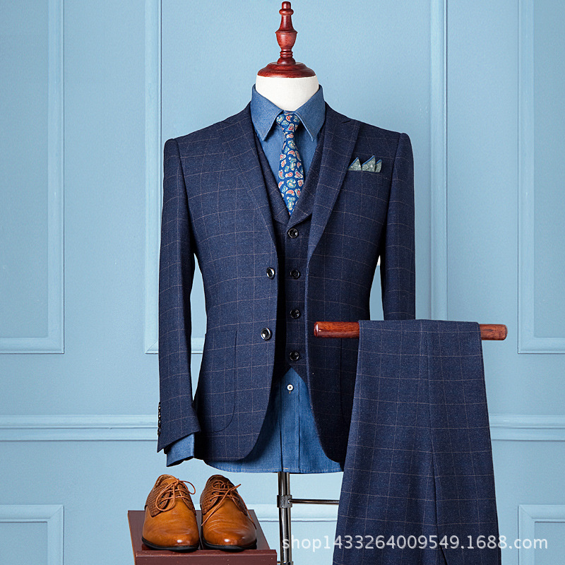 Mens casual suit three piece British groom wedding dress slim Korean Plaid small suitОдежда и ак�е��уары<br><br><br>Aliexpress