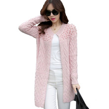 Buy Autumn Winter 2017 Women Long Cardigans Beading Pearl Long Sleeve Knitted Sweaters Korean Style Cardigan Coat Pink Gray Beige FS for $19.81 in AliExpress store