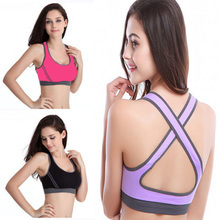 Women's Double Running Yoga Seamless Racerback Back Cross Fashion Sports Half-length Bra Underwear Fitness Tennis Vest