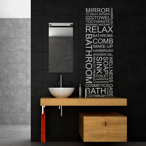 Wall decal bathroom wall sticker home decoration vinyl for Bathroom wall letters