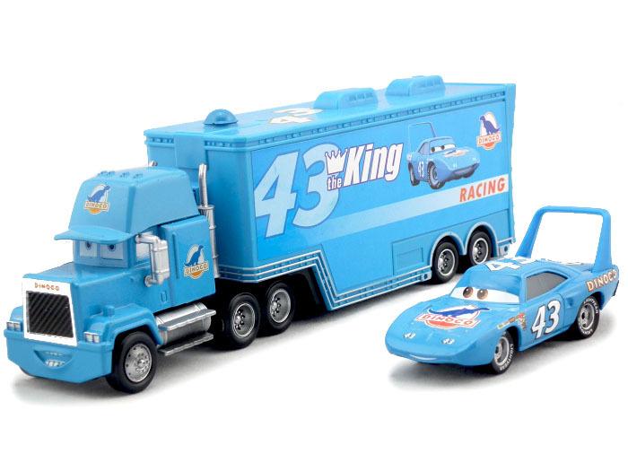 2pcs/set Cars Pixar #43 the king dinoco & mack Hauler Truck Diecast Toys Vehicles for Kids Children Kids Toys(China (Mainland))