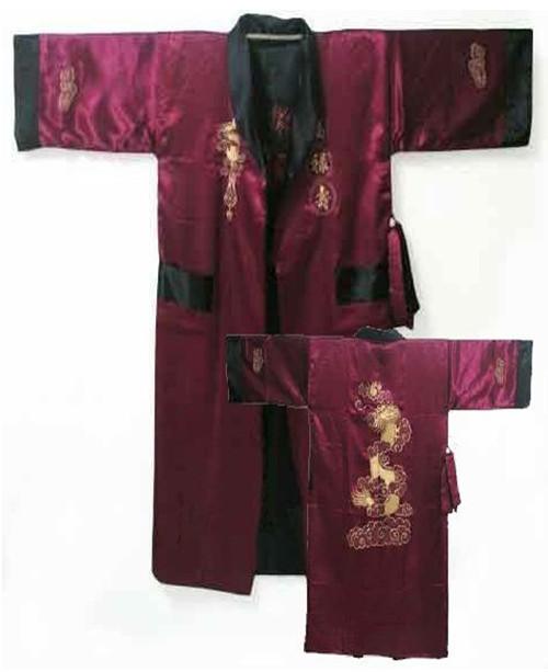 Бургундия черный реверсивные китайских людей сатин двуликий одеяние вышивка кимоно ...