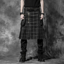 Punk Rock Tartan Skirt with Detachable Packs Q225BN
