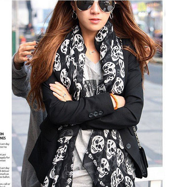 Spring 2015 New Nice Scarves & Wraps Vintage Black Chiffon Silk a Scarf Skull Fashion Cotton For Woman Length 160cm b9 SV011771(China (Mainland))