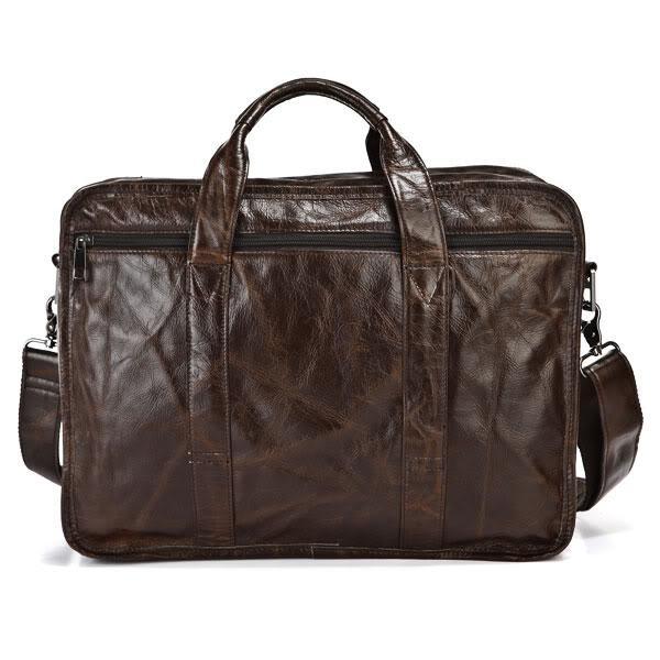 """Vintage genuine leather bags Men Briefcase natural cowskin portfolio men's messenger bag male bag 15.6"""" laptop handbag #MD-J7093"""
