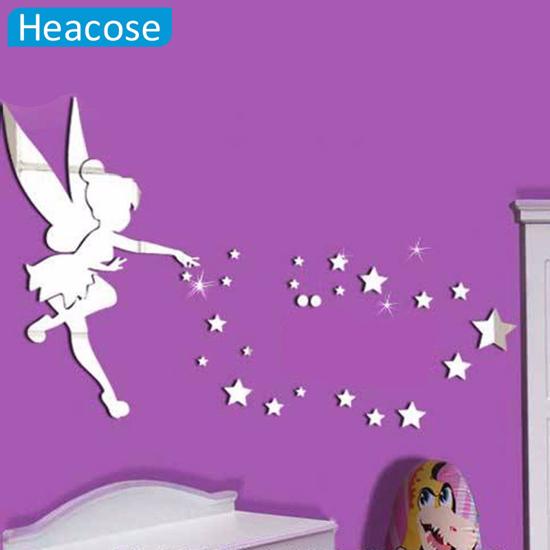 New 70x46 Mirror Sticker Tinkerbell Fairy Princess Stars 3D mirror Wall Decal wall sticker for kids Rooms muraux vinilos paredes(China (Mainland))