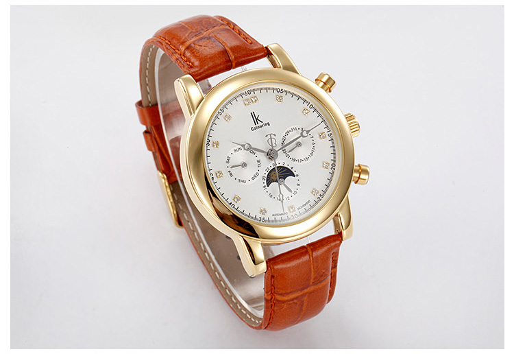 Ik многофункциональный полностью автоматические механические часы мужские часы мужские часы ремешок tourbillon мужские часы