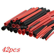 Hot Sale 42pcs 6 Sizes Ratio 2:1 Red Black Polyolefin H-type Heat Shrink Tubing Tube Sleeve Sleeving Cable Wrap Wire Kit